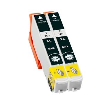 Logic-Seek 2 Tintenpatronen kompatibel zu Epson Stylus XP750 24XL C13T24314010 XL Schwarz