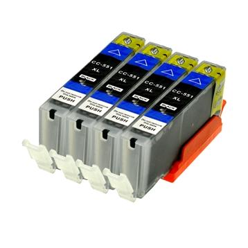 Logic-Seek 4 Tintenpatronen kompatibel zu Canon CLI-551BKXL 6443B001 XL Schwarz
