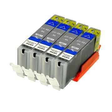 Logic-Seek 4 Tintenpatronen kompatibel zu Canon CLI-551GYXL 6447B001 XL Grau