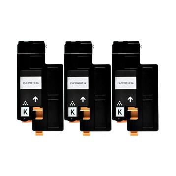 Logic-Seek 3 Toner kompatibel zu Epson C1700 0614 C13S050614 HC Schwarz