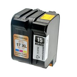 Logic-Seek 2 Tintenpatronen kompatibel zu HP 15 17 XL