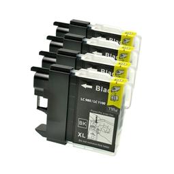 Logic-Seek 4 Tintenpatronen kompatibel zu Brother LC-980BK XL Schwarz