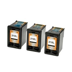 Logic-Seek 3 Tintenpatronen kompatibel zu HP 21 C9351AE XL Schwarz