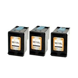 Logic-Seek 3 Tintenpatronen kompatibel zu HP 901XL CC654AE XL Schwarz