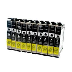 Logic-Seek 10 Tintenpatronen kompatibel zu Epson Stylus SX130 T1281 C13T12814011 XL Schwarz