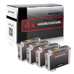 Logic-Seek 4 Tintenpatronen kompatibel zu Epson Stylus SX230 T1291 C13T12914010 XL Schwarz