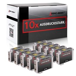 Logic-Seek 10 Tintenpatronen kompatibel zu Epson Stylus SX230 T1291 C13T12914010 XL Schwarz