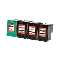 Logic-Seek 4 Tintenpatronen kompatibel zu HP 338 343 XL