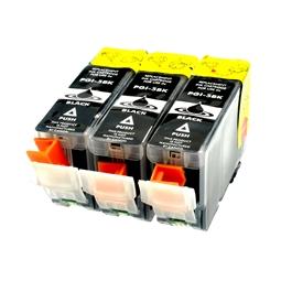 Logic-Seek 3 Tintenpatronen kompatibel zu Canon PGI-5BK 0628B001 XL Schwarz