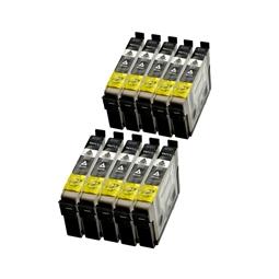 Logic-Seek 10 Tintenpatronen kompatibel zu Epson Stylus D78 T0711 C13T07114011 XL Schwarz