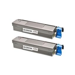 Logic-Seek 2 Toner kompatibel zu OKI C610 44315308 HC Schwarz
