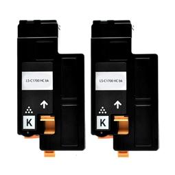 Logic-Seek 2 Toner kompatibel zu Epson C1700 0614 C13S050614 HC Schwarz