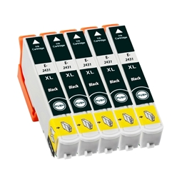 Logic-Seek 5 Tintenpatronen kompatibel zu Epson Stylus XP750 24XL C13T24314010 XL Schwarz