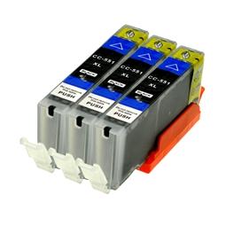 Logic-Seek 3 Tintenpatronen kompatibel zu Canon CLI-551BKXL 6443B001 XL Schwarz