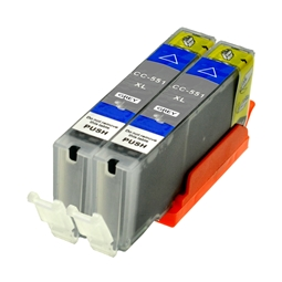 Logic-Seek 2 Tintenpatronen kompatibel zu Canon CLI-551GYXL 6447B001 XL Grau