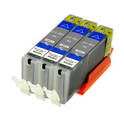 Logic-Seek 3 Tintenpatronen kompatibel zu Canon CLI-551GYXL 6447B001 XL Grau