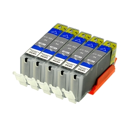 Logic-Seek 5 Tintenpatronen kompatibel zu Canon CLI-551GYXL 6447B001 XL Grau