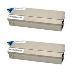Logic-Seek 2 Toner kompatibel zu OKI C7200 41304212 HC Schwarz