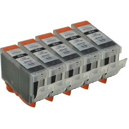 Logic-Seek 5 Tintenpatronen kompatibel zu Canon PGI-5BK 0628B001 XL Schwarz