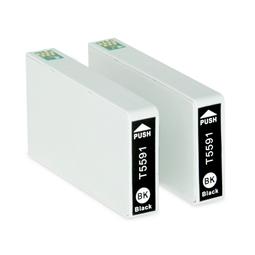 Logic-Seek 2 Tintenpatronen kompatibel zu Epson Stylus RX700 T5591 C13T55914010 XL Schwarz