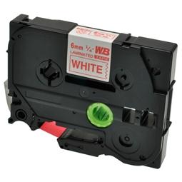 Logic-Seek 1x Schriftband kompatibel zu Brother TZE-212, Rot auf Weiss, 6mm x 8m