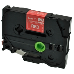 Logic-Seek 1x Schriftband kompatibel zu Brother TZE-415, Weiss auf Rot, 6mm x 8m