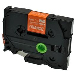 Logic-Seek 1x Schriftband kompatibel zu Brother TZE-615, Weiss auf Orange, 6mm x 8m