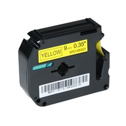 Logic-Seek 1x Schriftband kompatibel zu Brother MK-621BZ, Schwarz auf Gelb, 9mm x 8m