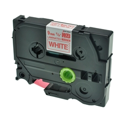 Logic-Seek 1x Schriftband kompatibel zu Brother TZE-222, Rot auf Weiss, 9mm x 8m