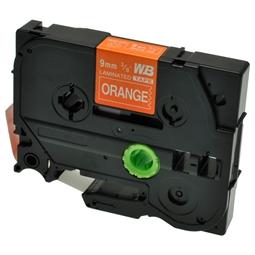 Logic-Seek 1x Schriftband kompatibel zu Brother TZE-625, Weiss auf Orange, 9mm x 8m