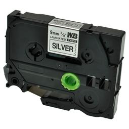 Logic-Seek 1x Schriftband kompatibel zu Brother TZE-921, Schwarz auf Silber, 9mm x 8m