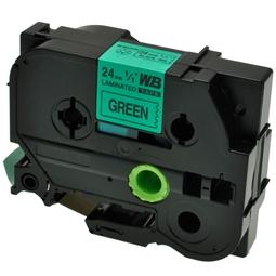 Logic-Seek 1x Schriftband kompatibel zu Brother TZE-751, Schwarz auf Grün, 24mm x 8m