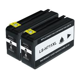 Logic-Seek 2 Tintenpatronen kompatibel zu HP 711 CZ129A XL Schwarz