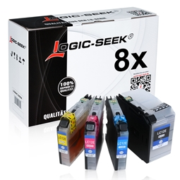 Logic-Seek 8 Tintenpatronen kompatibel zu Brother LC-12E XL