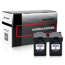 Logic-Seek 2 Tintenpatronen kompatibel zu HP 304X N9K08AE XL Schwarz