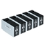 Logic-Seek 5 Tintenpatronen kompatibel zu Canon PGI-2500XLBK 9254B001 XL Schwarz